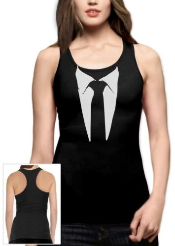 Printed Suit Tuxedo Racerback Tank Top Stinson Costume Party Gift Wedding Barney