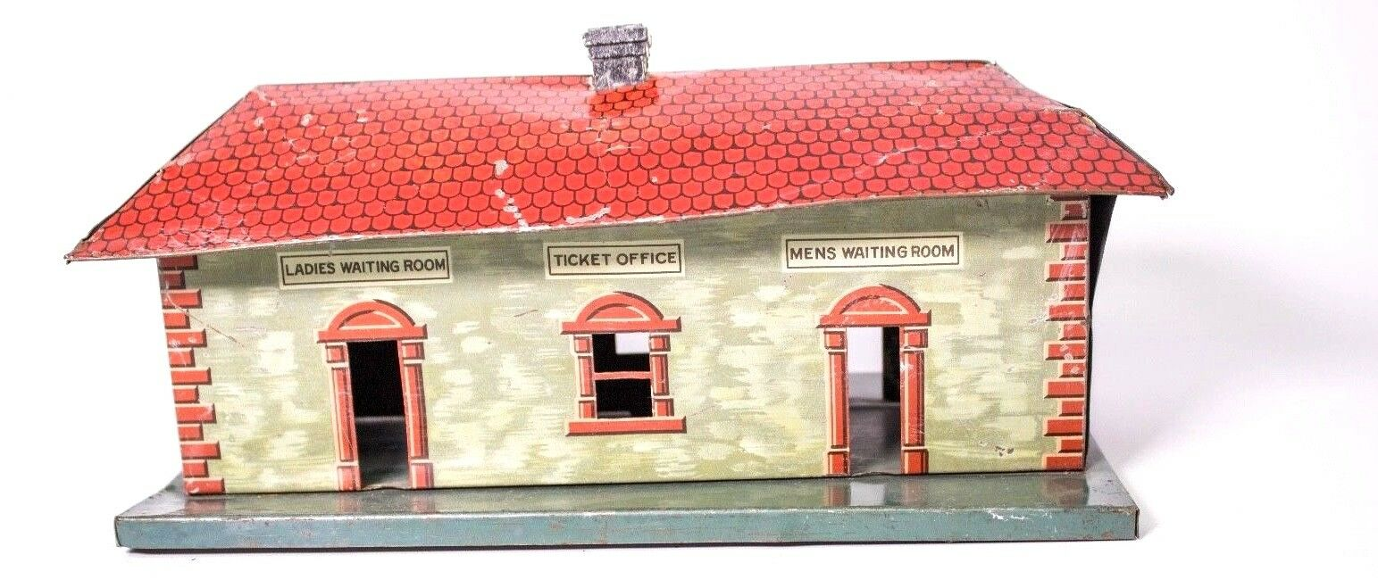 Vintage Bing 0-GAUGE Caja Metálica Litografiado Tren Estación