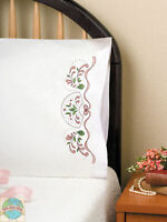 Embroidery Kit Design Works Colorful Fan & Ribbon Pillowcase Pair T232054
