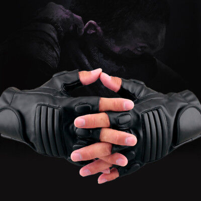 Men Leather Half Finger Glove Military Police Mittens Driving Motorcycle Bicycle
