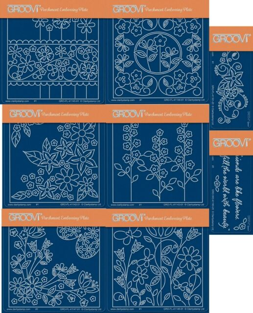 CLARITY STAMP GROOVI A6 Parchment Embossing Plate GARDEN FLOURISH GRO-FL-41147-0