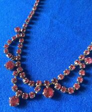Vintage Silver Tone  Art Deco Pink Faceted Rhinestone Necklace - wed bride