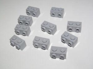 Lego ® Lot x10 Brique Tenons Latéraux 1x2 Brick Studs Med Stone Grey 11211 NEW
