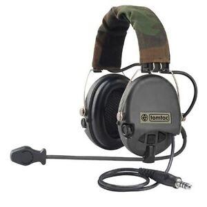 AIRSOFT-TOMTAC-SORDIN-HEADSET-MIC-BOOM-RADIO-MSA-DESIGN-WOODLAND-BLACK