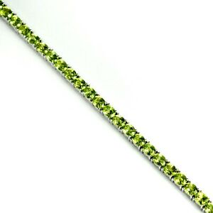5x4-mm-Oval-Natural-Green-Peridot-Gemstone-925-Sterling-Silver-Tennis-Bracelet