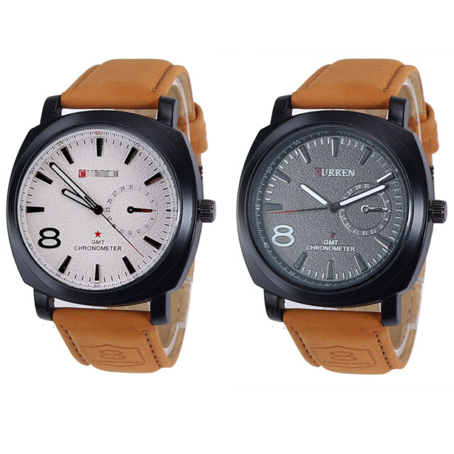 NEW Sport Watches Men Military Leather Strap Men's Analog Wrist Quartz Watch Pop