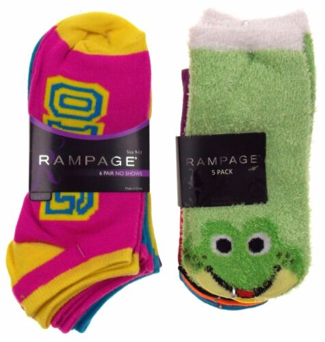 11 Pairs No Show Socks Women Rampage Size 5-11 OMG Frog LOL Wild XOXO Love Green