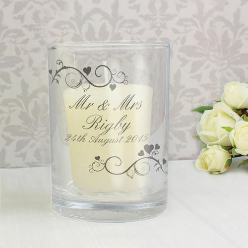 Personalised Ornate Swirl Votive Candle Holder Birthday Wedding Christmas