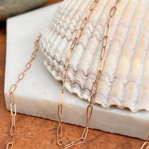 14KT Or Rose Poli Trombone Open Link Chain Pas De Fermoir Neuf Différentes Longueurs