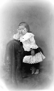 ANTIQUE-8-x-5-GLASS-PHOTO-NEGATIVE-1860-1890-ADORABLE-CHILD