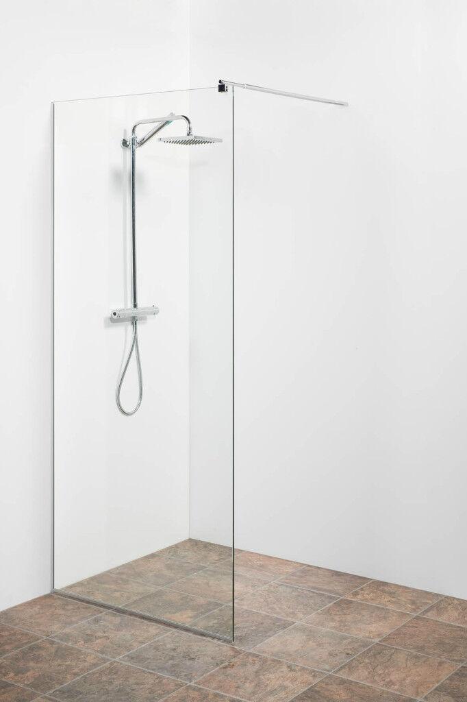 Duschwand Glas ungetönt Klar 50x200cm Sicherheitsglas ESG Ganzglas