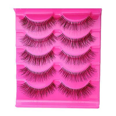 Fashion 5 Pairs Natural Eye Lashes Extension Makeup Long Fake False Eyelashes