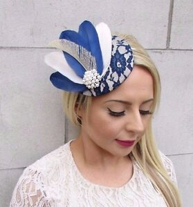 Image Is Loading Navy Blue Cream Ivory Feather Fascinator Pillbox Hat