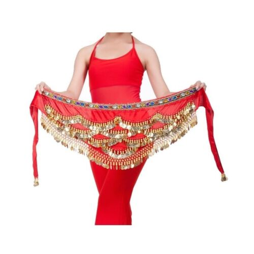 Belly Dance Hip Skirt Scarf Wrap Gem Waist With Three Layer Golden Coins 8 color