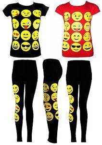 Kids Emoji émoticônes Smiley à Manches Courtes T-shirts Tops Filles âge Neuf 7-13y-afficher Le Titre D'origine Moins Cher