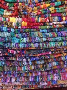 Hand Loomed Vintage Rag Rug Large Carpet Runner Area Rug