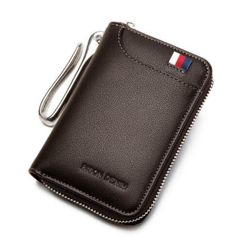 BISON DENIM Genuine Leather Key Wallet Male Card Keychain Cover Zipper Card