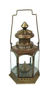 Rare-Antique-19th-Century-Copper-Maritime-Nautical-Lantern-Beveled-Glass