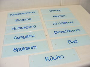 """Old Glass Sign Shield, """" Emergency Exit """" Door Sign Made of Glass 25x8cm"""