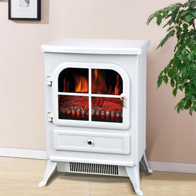 1850w Modern White Free Standing Electric Stove Fireplace Fire Heater