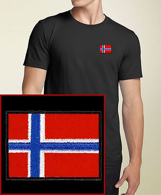 Norway Flag EMBROIDERED Black  T-Shirt