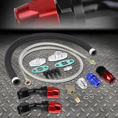 "Turbocharger 40/"" 1//8 Oil Feed /& Stainless Braided 21/"" 10AN Return Drain Line Kit"