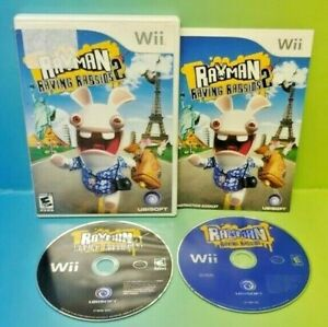 Rayman-Raving-Rabbids-1-2-Nintendo-Wii-Wii-U-Game-Lot-Tested-Working