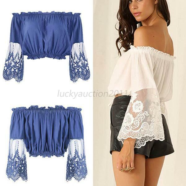 Sexy Women Boho Lace Floral Blouse Fashion Off Shoulder Crop Tops T-shirts S-XL