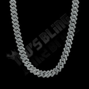 18K White Gold Out Iced Lab Diamond Prong Set 14mm Cuban Link Chain Bracelet
