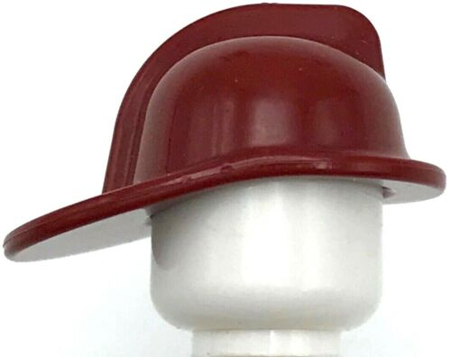 Lego New Dark Red Minifigure Headgear Fire Helmet Town City Piece