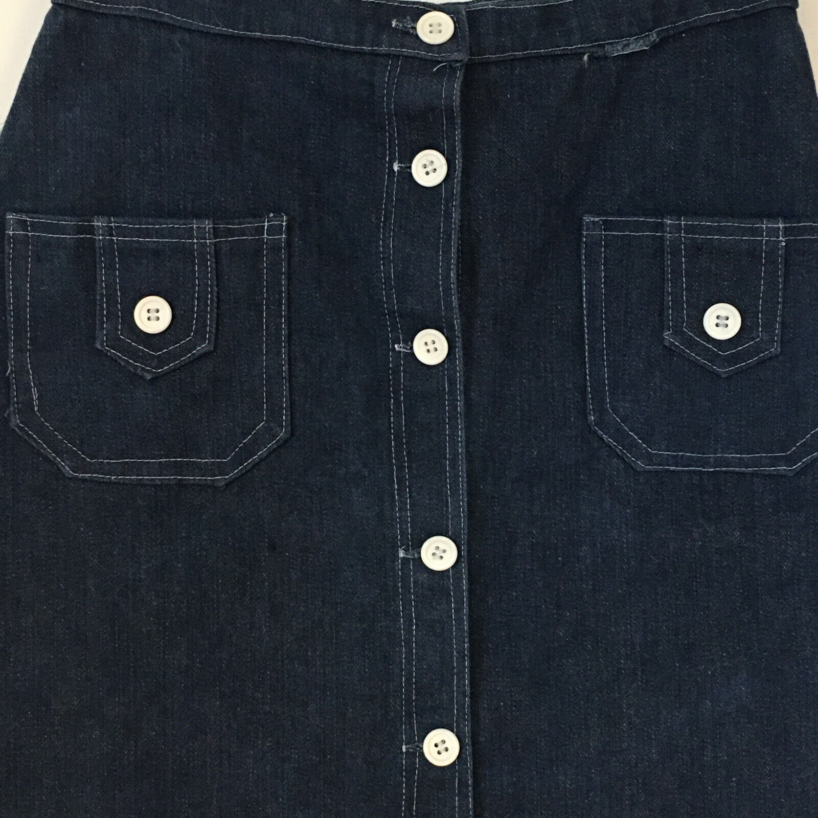 Peekaboo A-Line Vintage Inspired Denim Button Fro… - image 2