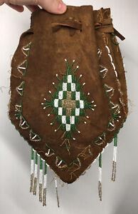 19th C. Antique Plains Native American Beaded Leather Medicine Tobacco Purse Bag