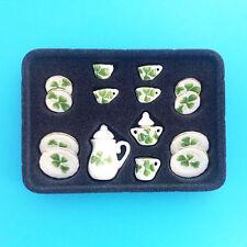 Lot of 15 Flower Porcelain  Puppenhaus Miniature Tea Cup Set green leaves