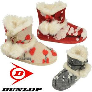 Ladies-Slippers-Womens-Dunlop-Boots-Ankle-Winter-Faux-Sheepskin-Fur-Booties-Size