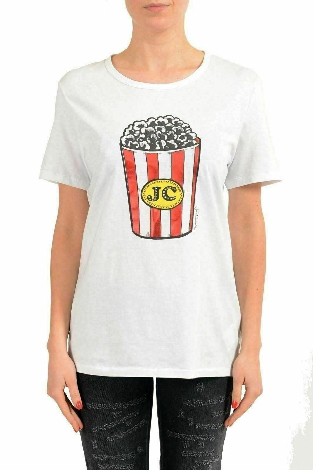 Just Cavalli Weiß Embellished Short Sleeve Woherren T-Shirt US S IT 40