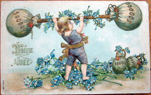 1908-New-Year-Postcard-Weight-Lifting-Coins-Embossed-Color-Litho