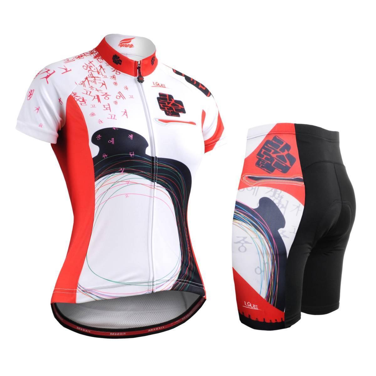 FIXGEAR CS-W2502-SET Women's Cycling Jersey & Padded Shorts MTB BMX Roadbike