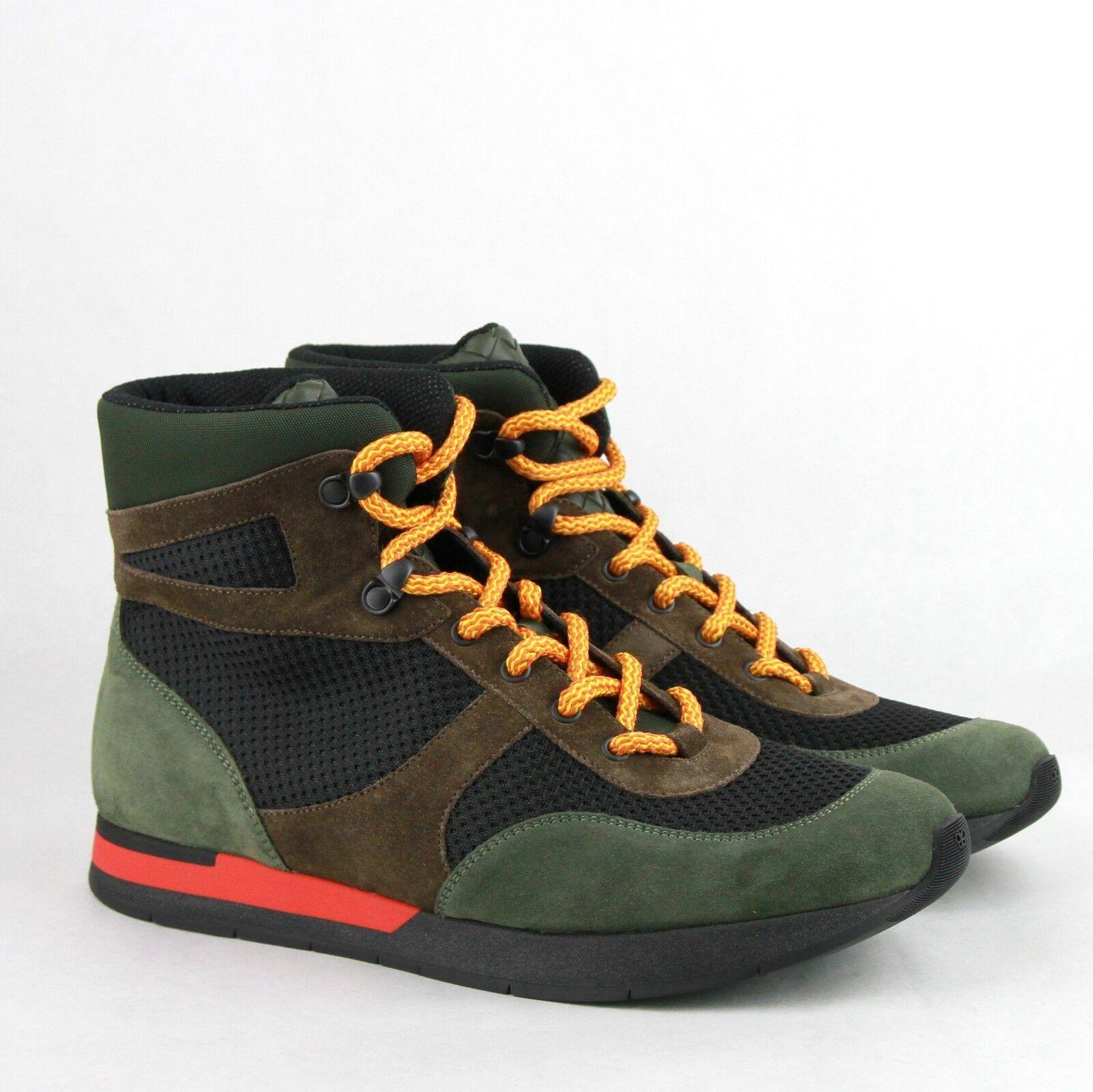 Bottega Veneta verde Marronee nero Suede Leather Mesh High Top Top Top scarpe da ginnastica 417024 3364 b13d26