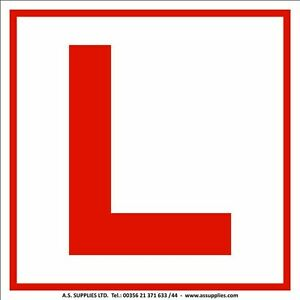 l plate learner 2 x sticker car motorcycle stick self adhesive