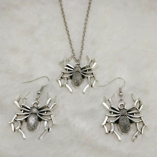 NEW 1 set of Vintage silver Spider Pendant Necklace & earrings Fashion Jewelry,