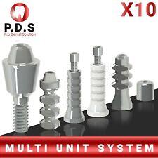 10x Dental Titanium Straight Multi Unit 1mm 6mm Length Full Set All Parts