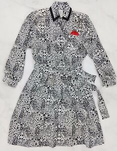 Vtg-Abstract-Black-White-Long-Sleeve-Mod-Summer-A-Line-Dress-Womens-Size-10