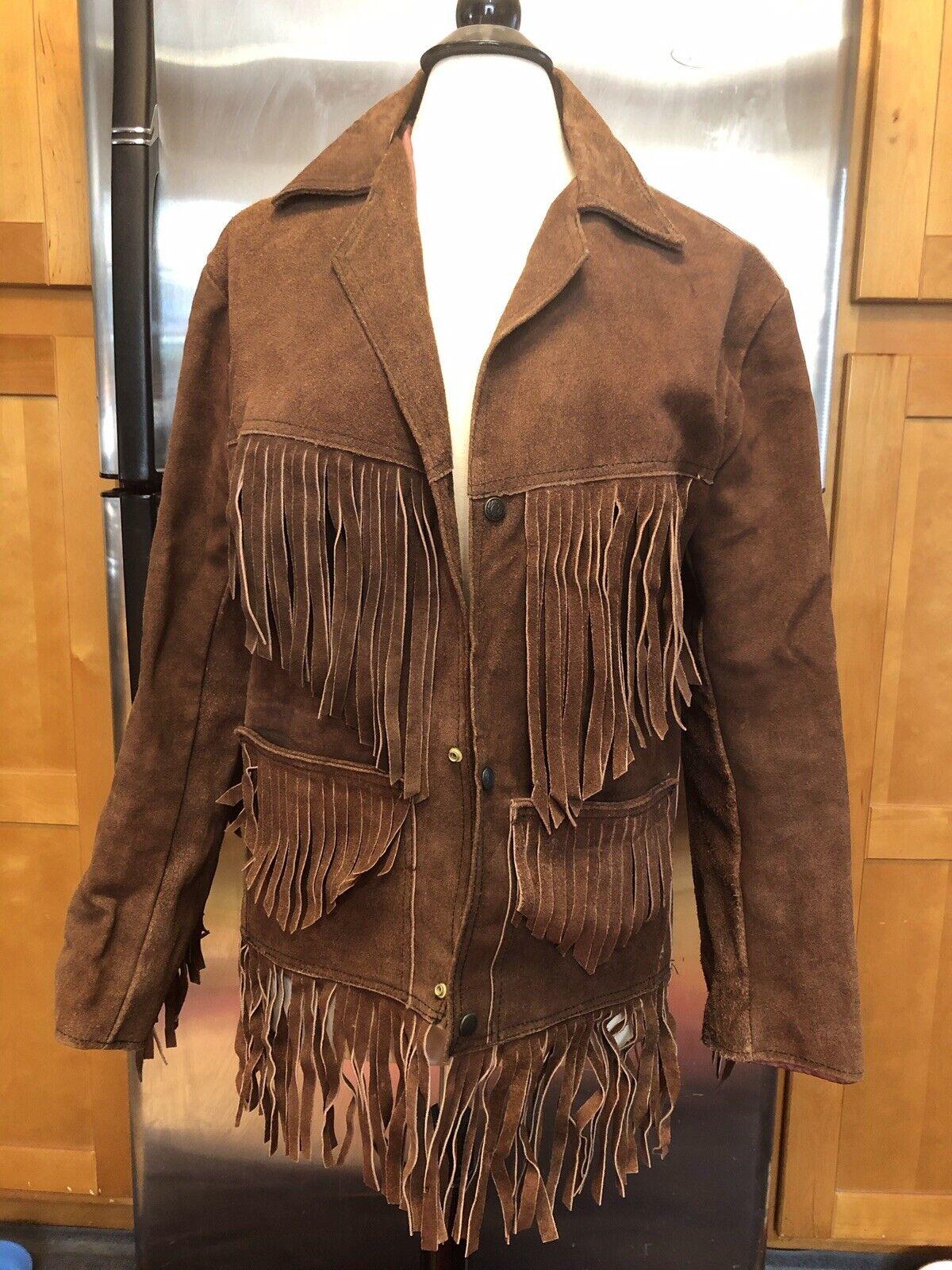 Vintage Creaciones Suede Leather Fringe Jacket Coat Sz 38 Hippie Boho Western