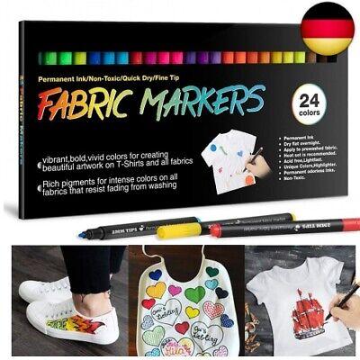 Permanent Marker zum Dekorieren von T-Shirts Schuhen RATEL 24 Farben Wasserfeste Textilmarker Keine Blutung ungiftig Stoffmalstifte mit Doppelkopffeder Textilstifte L/ätzchen Textilien