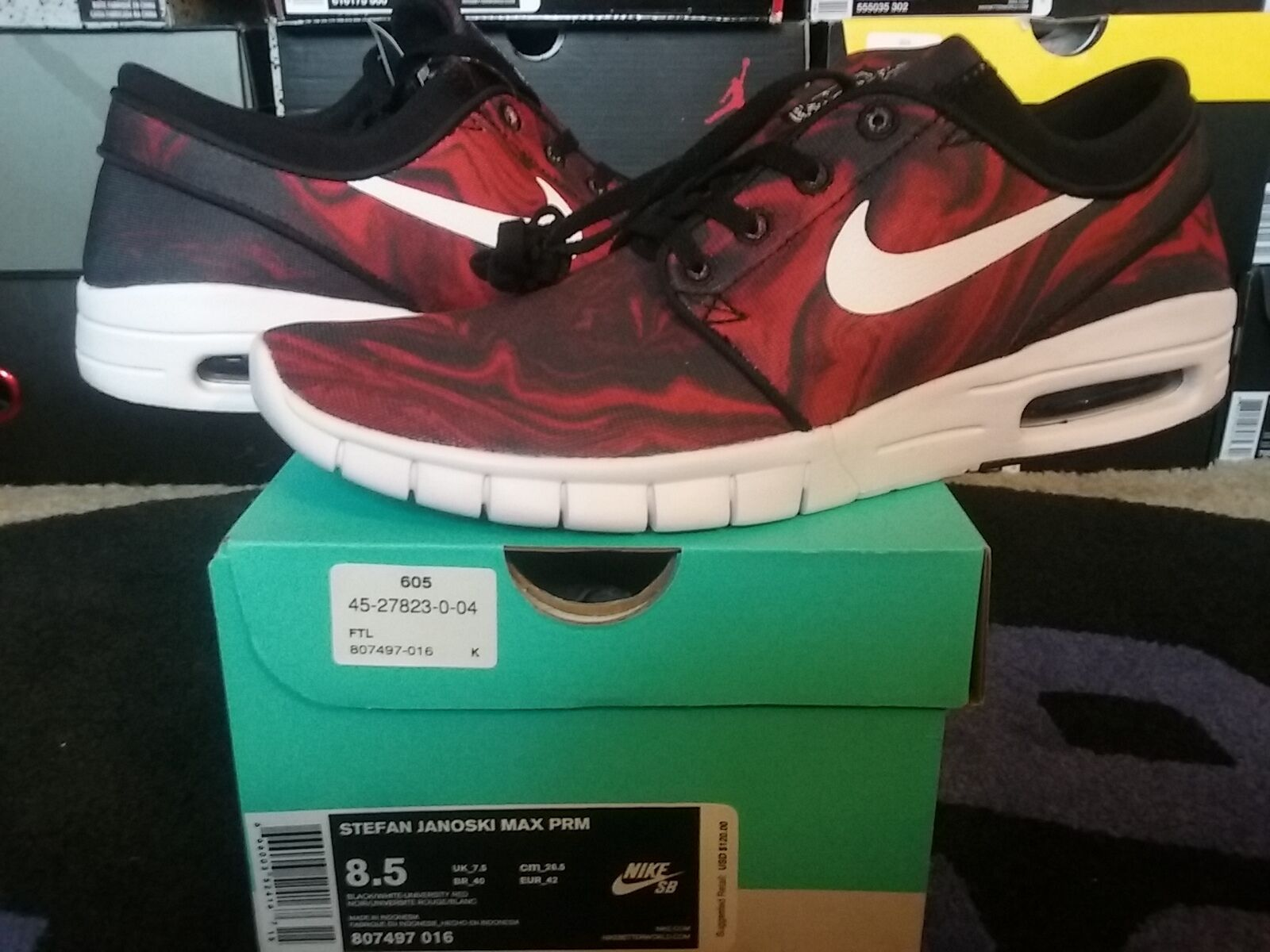 Nike Air Zoom Stefan Janoski Max Premium PRM SB Black White Red mid l 807497 016