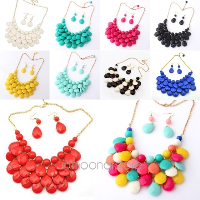 2014 Newest Womens Teardrop Bubble Bib Statement Jewelry Necklace Earrings Sets