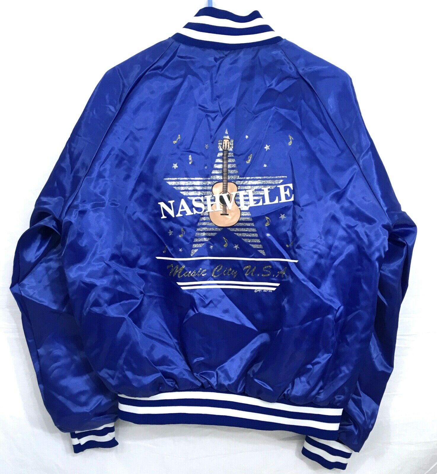 Vintage 1980s NASHVILLE MUSIC Nylon Blau jacke (Größe L) Made in USA  A33