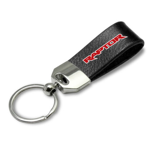Ford F150 Raptor Red 2017-2019 Large Genuine Black Leather Loop Strap Key Chain