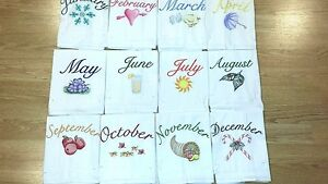 Flour Sack Kitchen Towels.Details About Months Of The Year Machine Embroidered Flour Sack Dish Towels 12