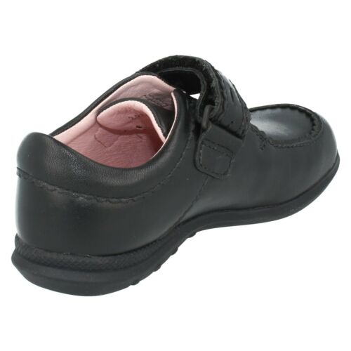Step Out Girls Black Leather Startrite Riptape School Shoes